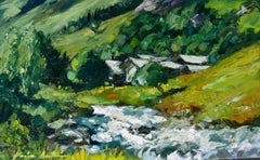 """Champigny River by Fribourge "" Contemporary Impressionist Oil of French Alps"