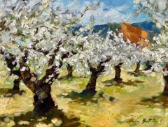 """""""Cherry Orchard By St. Saturnin""""  Modern Impressionist Oil Painting of Provence"""
