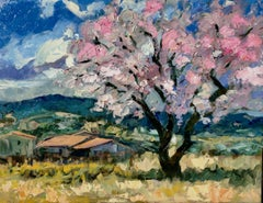 """""""Cherry Tree by Les Petite Clements""""  Impressionist Oil Painting of Provence"""