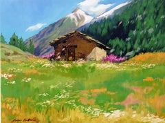 """""""Cottage On The Hill"""" Modern Impressionist Oil of French Alps by Maria Bertran"""