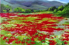 """""""Elizabeth's Poppy Field""""  Impressionist Painting by Maria Bertran In Provence"""