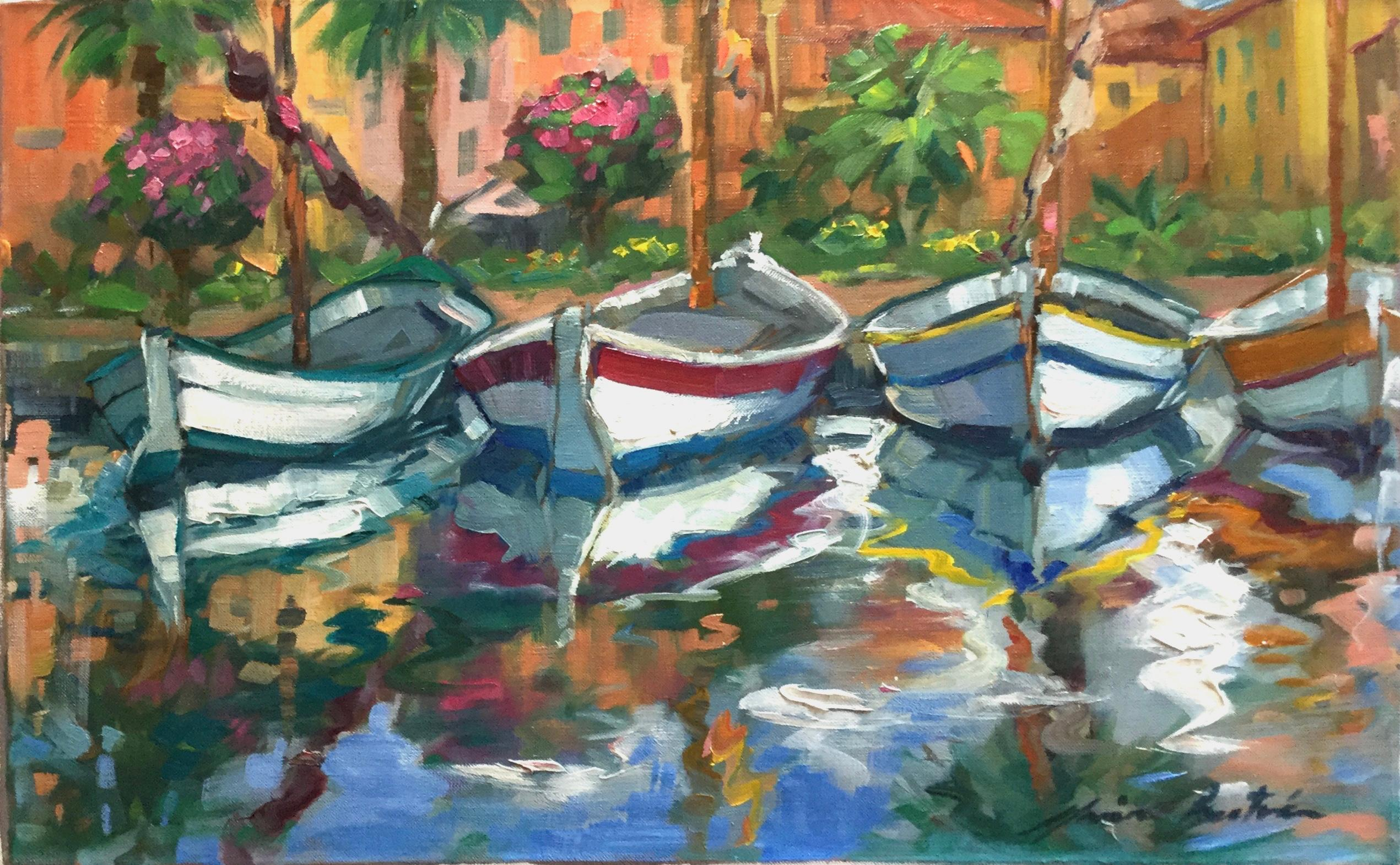"""""""Fisherman Boats and Reflections"""" Contemporary Impressionist Oil of Provence"""