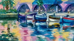 """Fishing Boat Reflections"" Contemporary Impressionist Oil Of French Riviera"