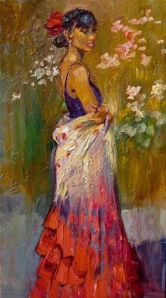 """Flamenco Dancer"" Contemporary Impressionist Figure Oil Painting of Dancer"