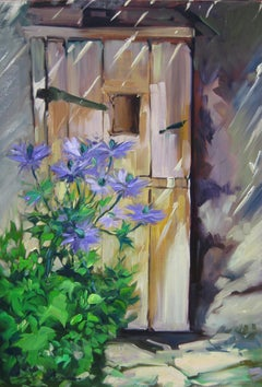 """""""Flowers By The Alpine Door"""" Modern Impressionist Oil Painting by Maria Bertran"""