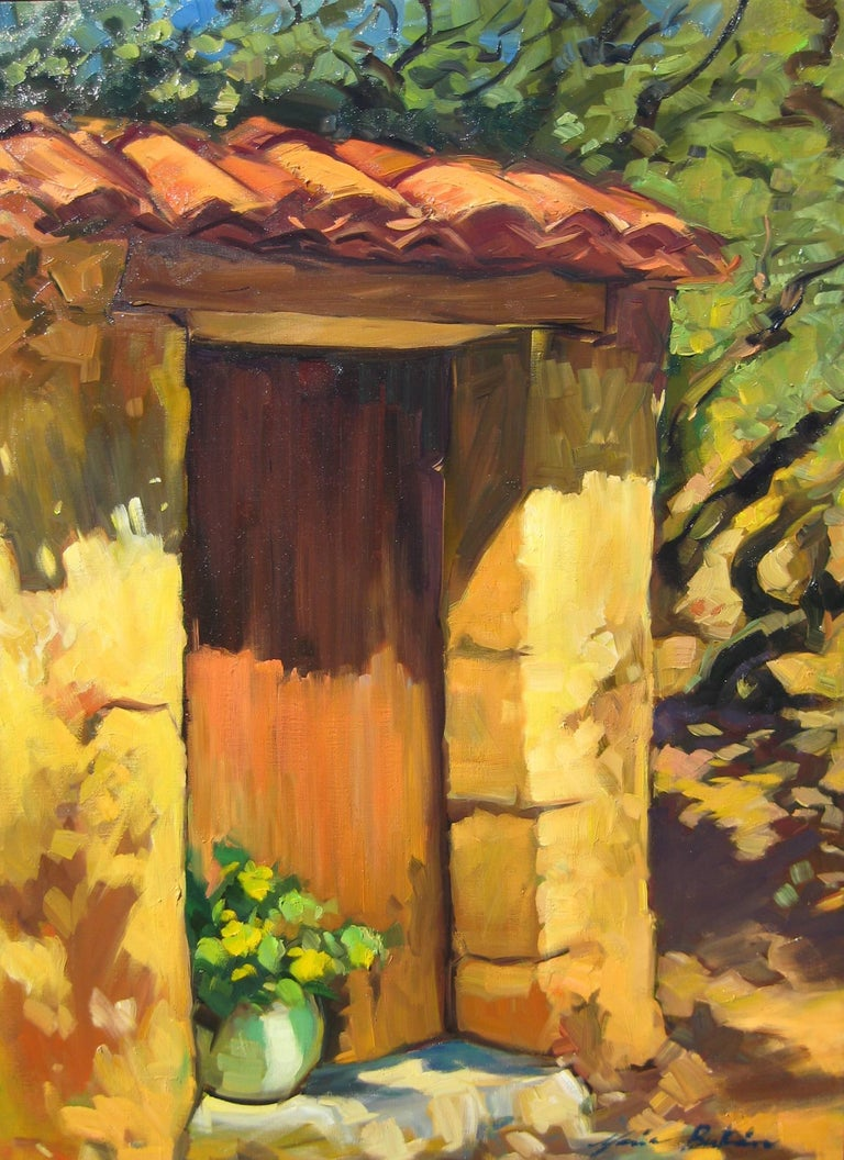 """""""Flowers By The Provencal Doorway"""" is an beautiful oil painted on location in Provence by Maria Bertran. This Contemporary Impressionist painting captures a timeless Spring scene in the South of France.  Created en plein air and contrasting the"""