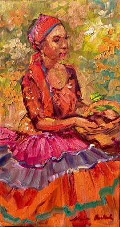 """Fruit Seller"" Contemporary Impressionist Figure Oil Painting"