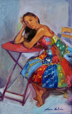 """""""Girl From Guadalupe"""" Large Impressionist Figure Oil Painting by Maria Bertran"""