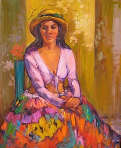 """Girl With Straw Hat"" Modern Impressionist Figure Oil Painting by Maria Bertran"