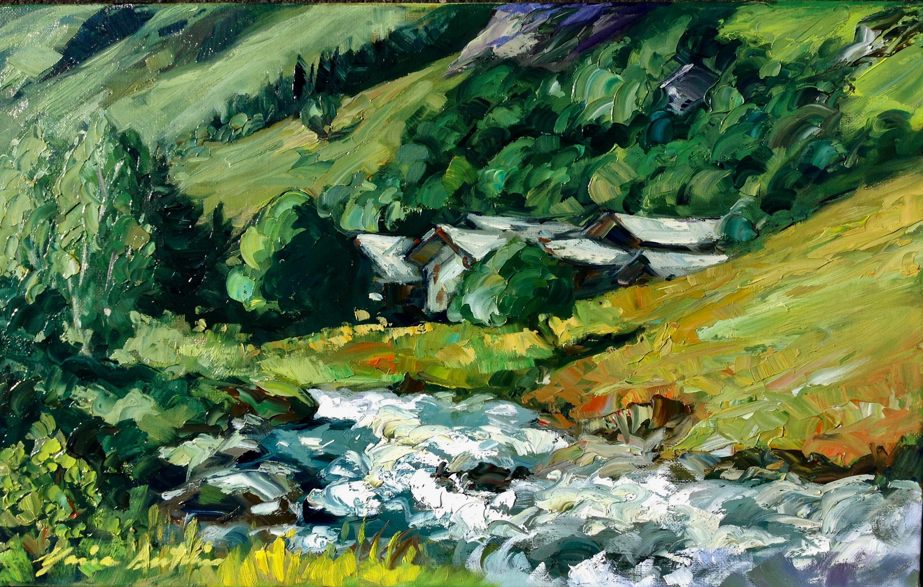 """""""Glacier Stream In French The Alps""""  Modern Impressionist Oil Painting of France"""
