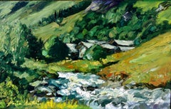 """Glacier Stream In French The Alps""  Modern Impressionist Oil Painting of France"