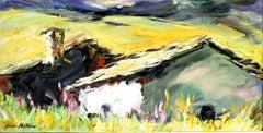 """Golden Alpine Cabins"" Contemporary Impressionist Oil of Italian Alps"