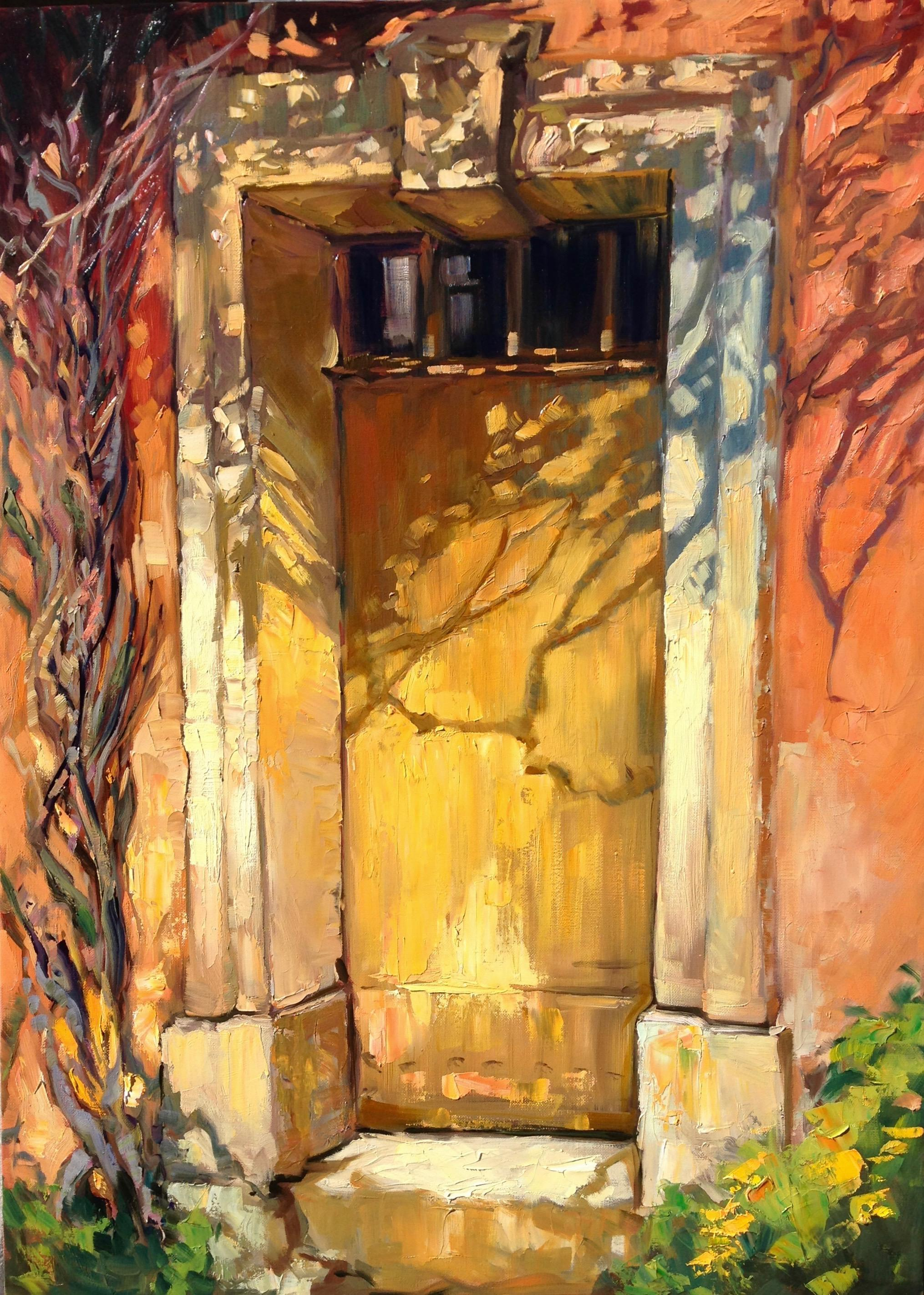 """""""Golden Door In Les Petite Clements"""" Impressionist Oil Painting of Provence"""