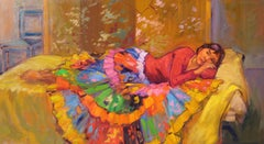 """""""Golden Glow""""  Modern Impressionist Figure Large Oil Painting by Maria Bertran"""