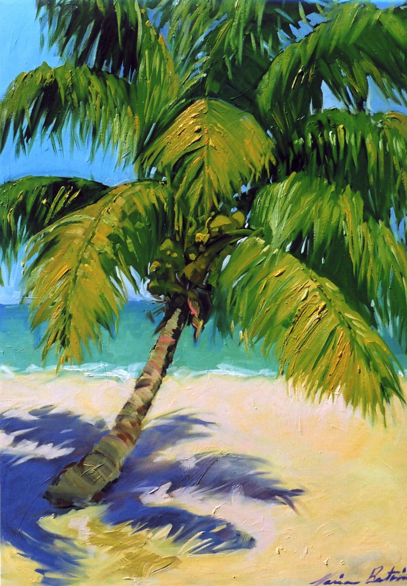 """Golden Palm Shadows"" Contemporary Impressionist Oil of Florida Keys"