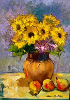 """Golden Sunflowers with Lavender"" Contemporary Impressionist Still Life"