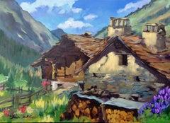 """""""Gran Paradiso Cabin"""" Contemporary Impressionist Oil of Italian Alps"""