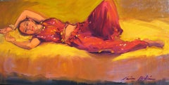"""""""Gypsy Girl""""  Contemporary Impressionist Figure Oil Painting by Maria Bertran"""