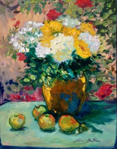 """Hydrangeas and Sunflowers"" Contemporary Impressionist Still Life"