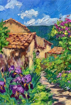"""""""Irises By The Path""""  Modern Impressionist Oil Painting of Provence"""