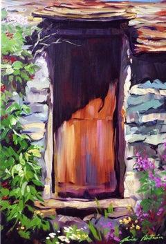 """""""Italian Alpine Door"""" Contemporary Impressionist Vertical Oil of Italian Alps"""