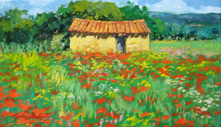 """Sunshine and bright white Spring clouds contrast with the bold red wild poppies and green hills in """"Joucas Poppies"""" an exceptional oil painted on location in Provence by Maria Bertran. This Contemporary Impressionist scene captures a timeless scene"""