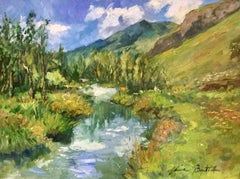 """Laisonnay Valley Reflections""  Modern Impressionist Oil Painting of France"