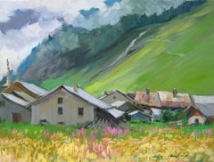 """Les Bois Farmhouses"" Modern Impressionist Oil of French Alps by Maria Bertran"
