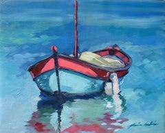 """Lone Boat"" Contemporary Impressionist Oil Of French Riviera"