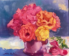 """""""Lush Red and Golden Roses"""" Contemporary Impressionist Still Life"""