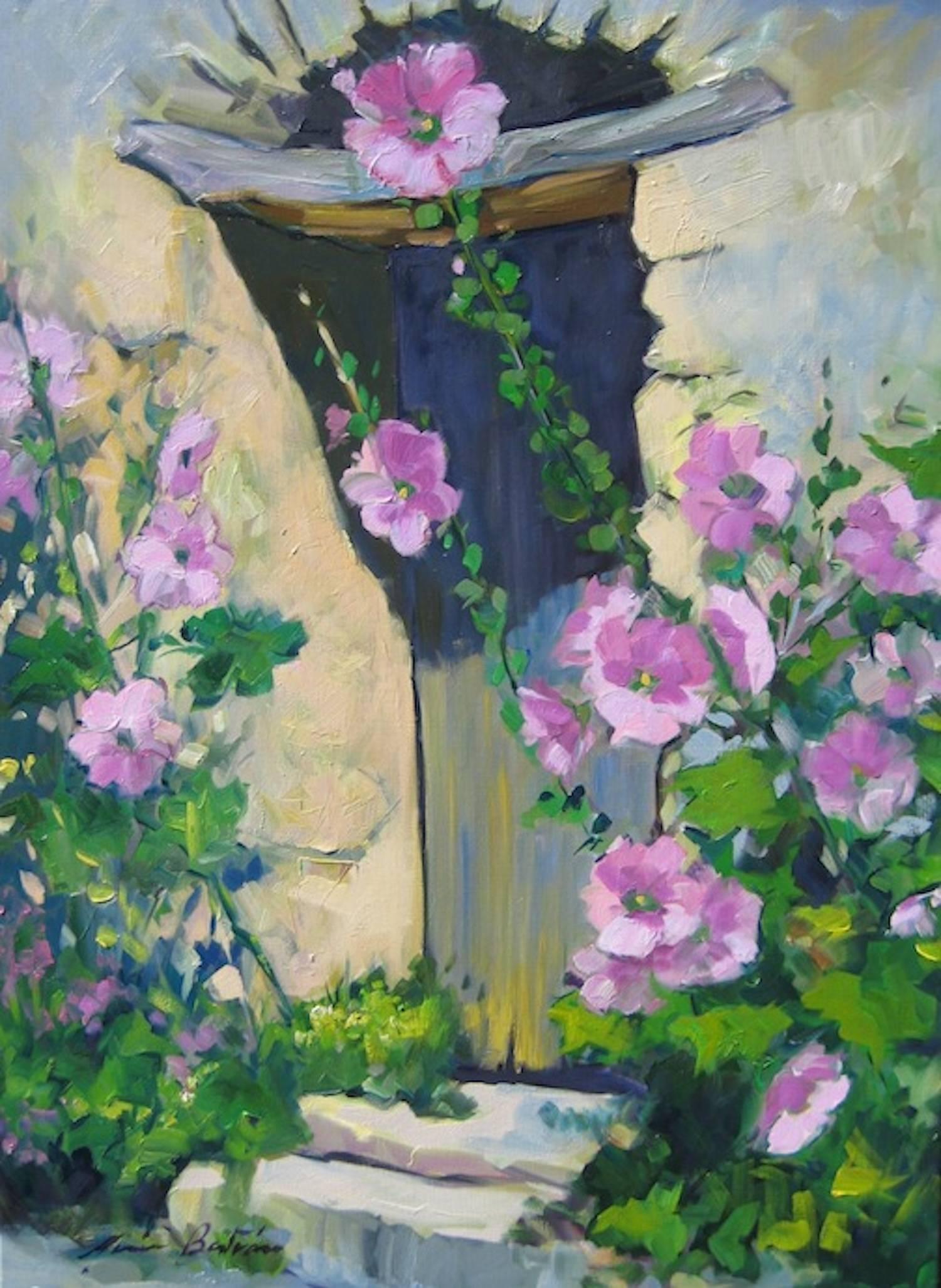 """""""Medieval Doorway With Hollyhocks"""" Impressionist Oil Painting by Maria Bertran"""