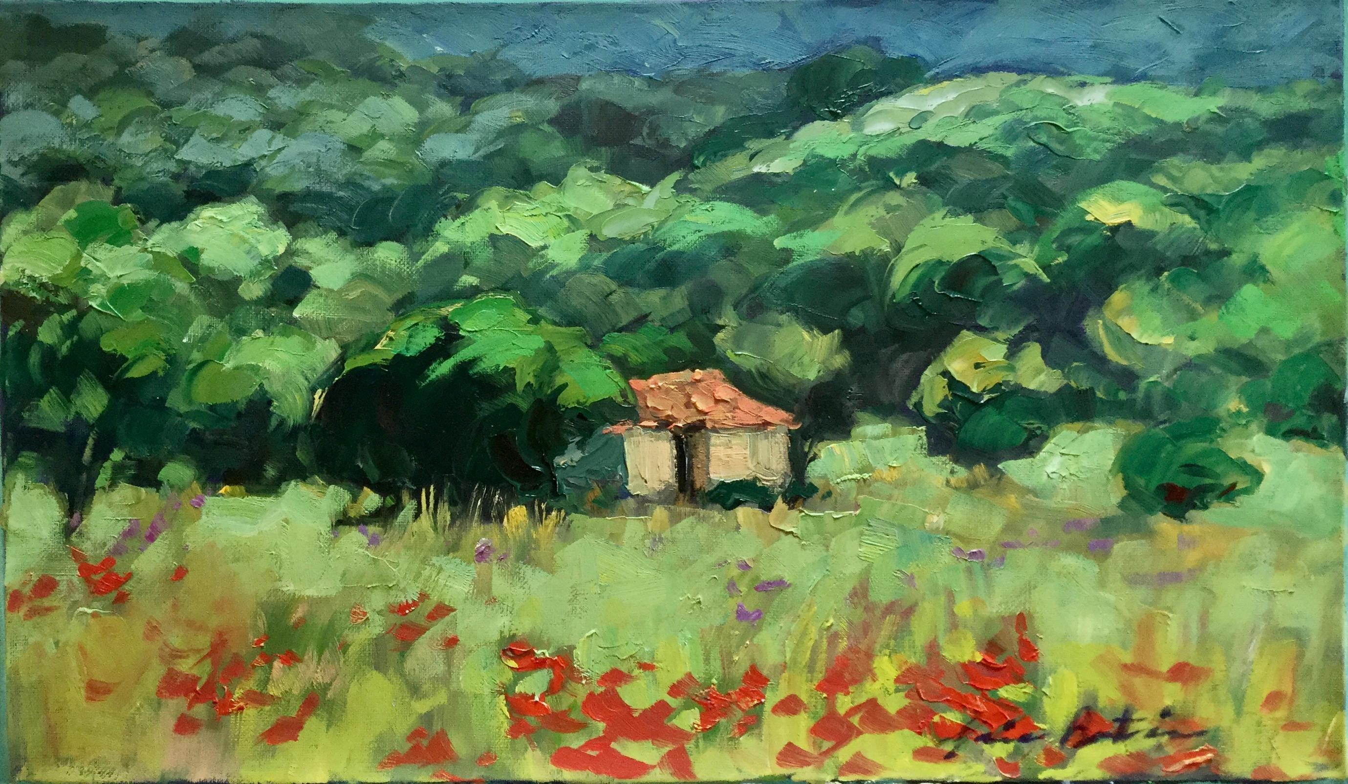 """""""Mon Cabanon"""" Contemporary Impressionist Oil of Provence"""