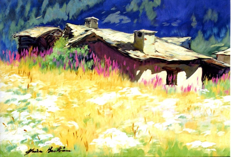 """Maria Bertran Landscape Painting - """"Mountain In Shadow""""  Contemporary Impressionist Oil of French Alps"""