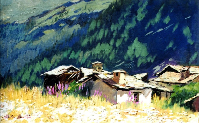 """""""Old Alpine Cabins"""" is an beautiful oil painted on location in the Italian Alps by Maria Bertran. This Contemporary Impressionist painting captures a timeless scene in the Val D' Aosta.  Created en plein air and contrasting the colorful flowers of"""