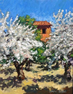 """Old Cabanon Cherry Orchard""  Contemporary Impressionist Oil of Provence"