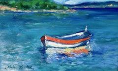 """Orange and White Stripes"" Contemporary Impressionist Oil Of French Riviera"