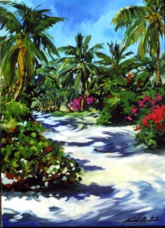 """""""Palm Alley"""" Contemporary Impressionist Oil of Florida Keys"""