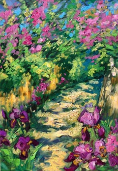 """""""Path In The Artists Village""""  Modern Impressionist Oil Painting of Provence"""