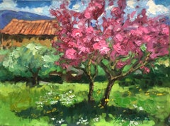 """Pink Blossoms In Les Grand Clements"" Modern Impressionist Oil of Provence"