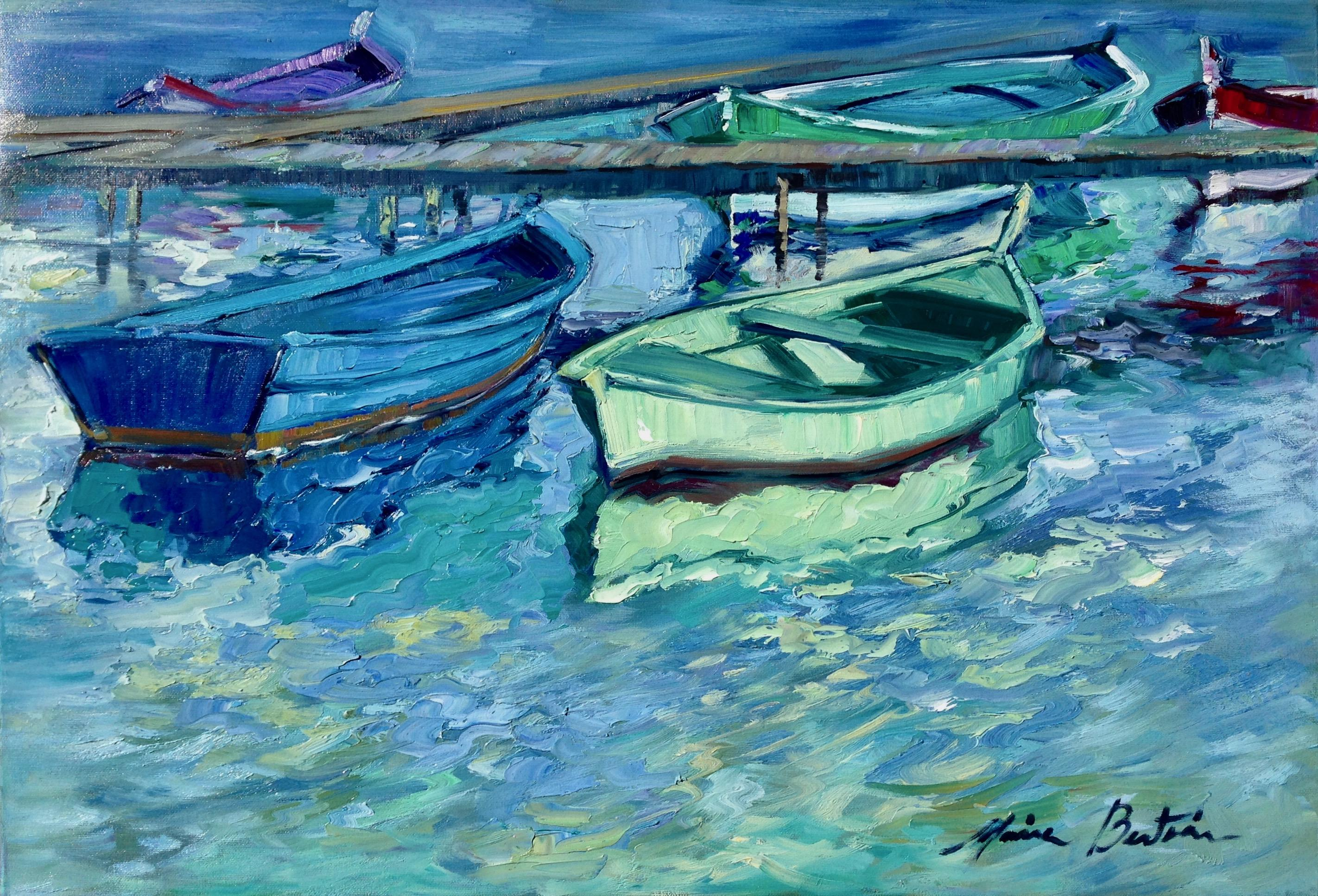 """""""Pointeau Reflections"""" Contemporary Impressionist Oil Of French Riviera"""