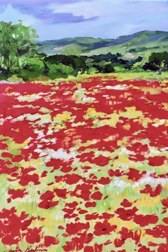 """Poppies In Banon"" Contemporary Impressionist Painting In Provence with Bold Red"