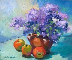 """Purple Hydrangeas"" Contemporary Impressionist Still Life by Maria Bertran"