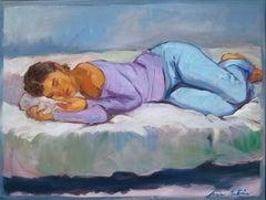 """""""Purple Top"""" Large Modern Impressionist Figure Oil Painting"""