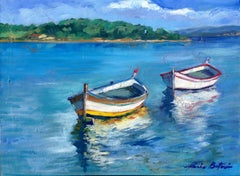 """""""Reflections of Le Brusc Bay"""" Contemporary Impressionist Oil Of French Riviera"""