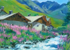 """""""River By Alpine Chalets""""  Contemporary Impressionist Oil by Maria Bertran"""
