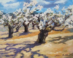 """""""Spring Cherry Blossoms In Provence"""" Contemporary Impressionist Oil Painting"""