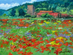 """""""St. Pantaleon Poppy Field"""" Contemporary Impressionist Oil Painting of Provence"""