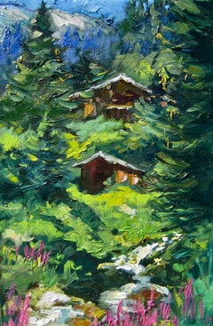 """""""Stream Below Alpine Cabins"""" Contemporary Impressionist Oil of French Alps"""