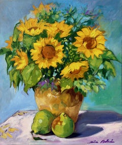 """Sunflowers and Pears"" Contemporary Impressionist Still Life Oil"