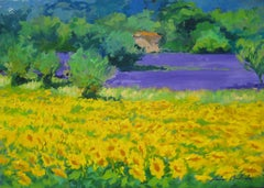 """""""Sunflowers In The Lavender""""  Impressionist Oil In Provence by Maria Bertran"""